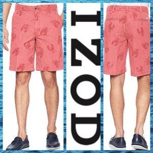 🍀 Izod Saltwater Red Lobster Shorts Sz 34